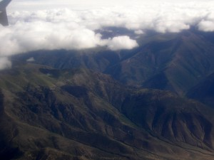 An aerial view of the mountains outside of Lhasa.