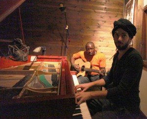 Touré and Raichel in the studio together. (Nitzan Treystman)